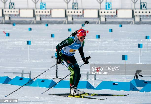 Germany's Denise Herrmann competes during the women's 4X6 km relay of the IBU Wolrd Cup Biathlon on February 8 2019 in Canmore Canada