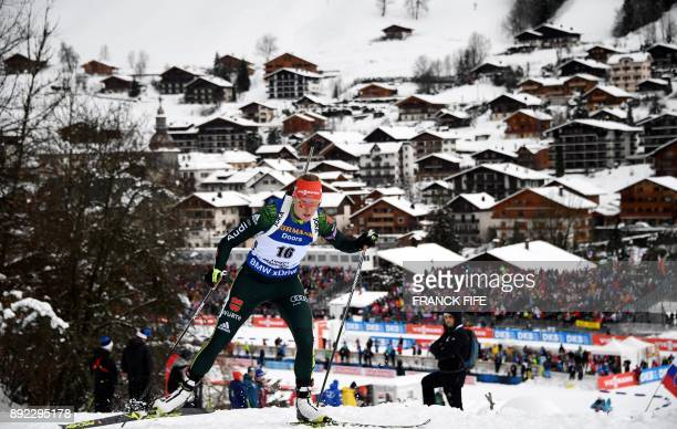 TOPSHOT Germany's Denise Herrmann competes during the women's 75 km sprint event at the IBU World Cup Biathlon in Le Grand Bornand on December 14...