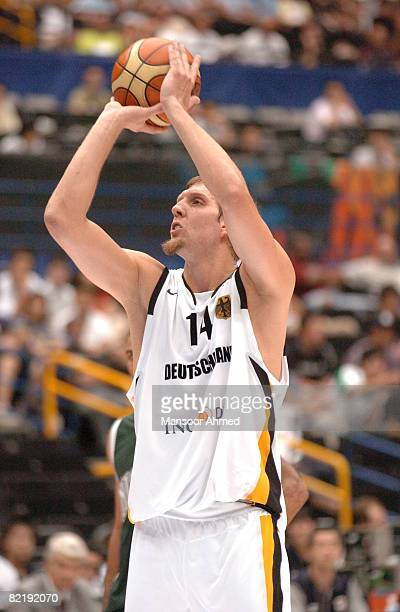 Germany's Dirk Nowitzki takes a short jumper versus Nigeria during the Final Eight round of the 2006 FIBA World Championship at the Saitama Super...