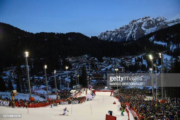 Germany's Dominik Stehle competes in the first run of the FIS Alpine World Cup Men's Slalom on December 22 2018 in Madonna di Campiglio Italian Alps
