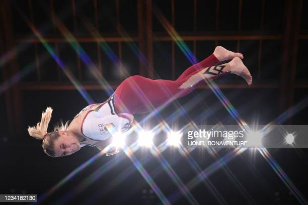 Germany's Elisabeth Seitz competes in the artistic gymnastics vault event of the women's qualification during the Tokyo 2020 Olympic Games at the...
