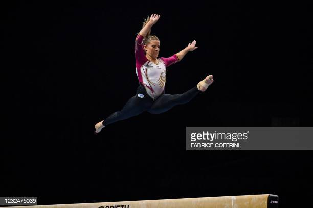 Germany's Elisabeth Seitz competes in the beam competition during the Women's all-around final of the 2021 European Artistic Gymnastics Championships...