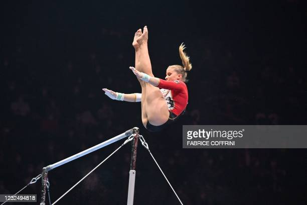 Germany's Elisabeth Seitz competes in the Women's uneven bars apparatus final of the 2021 European Artistic Gymnastics Championships at the St...