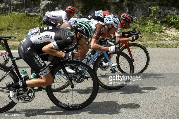 Germany's Emanuel Buchmann rides during the 1875 km eighth stage of the 104th edition of the Tour de France cycling race on July 8 2017 between Dole...