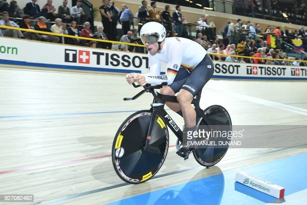 Germany's Eric Engler takes part in the men's one kilometre time trial final during the UCI Track Cycling World Championships in Apeldoorn on March 4...