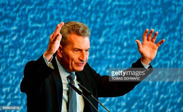 Germany's European Commissioner in charge of Budget and Human Resources Guenther Oettinger speaks during a congress of the Junge Union Deutschlands...