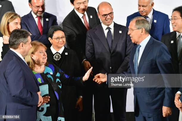 Germanys Federal Minister of Foreign Affairs Sigmar Gabriel Argentinas Minister of Foreign Affairs and Worship Susana Malcorra and the Russian...