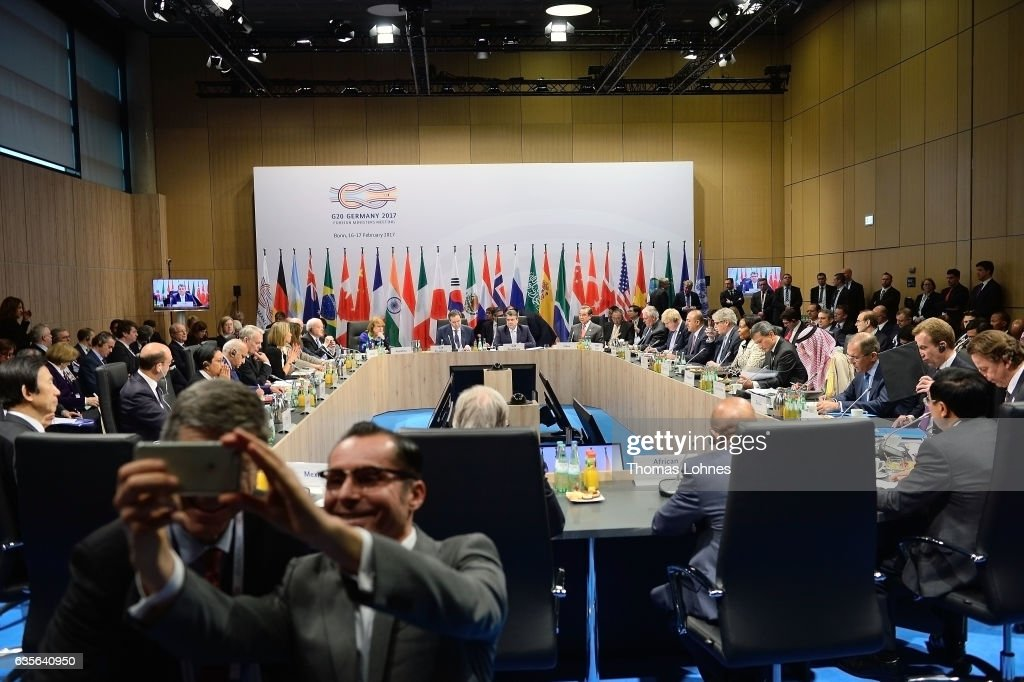 Germanys Federal Minister of Foreign Affairs Sigmar Gabriel (C) opens the G20 foreign ministers' meeting on February 16, 2017 in Bonn, Germany. The meeting is the first occasion that high-level diplomats from the world's most influential countries have come together since the inauguration of new U.S. President Donald Trump.