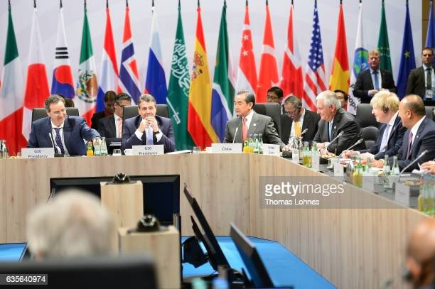 Germanys Federal Minister of Foreign Affairs Sigmar Gabriel opens the G20 foreign ministers' meeting on February 16 2017 in Bonn Germany The meeting...