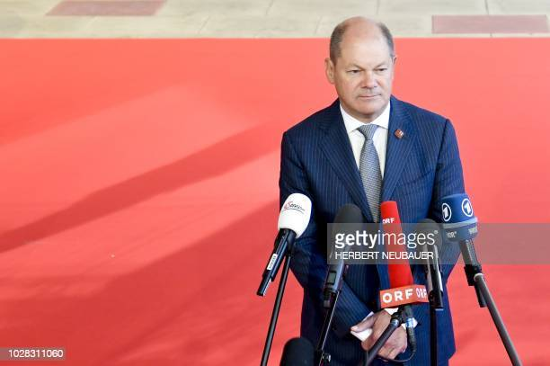 Germany's Finance Minister Olaf Scholz arrives for a Eurogroup meeting Informal meeting of economic and financial affairs ministers in Vienna Austria...