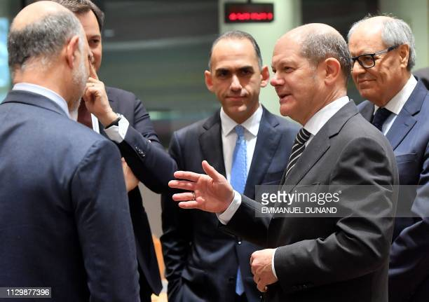 Germany's Finance Minister Olaf Sholz attends a Eurogroup finance minister's meeting at the European Council in Brussels on March 11 2019
