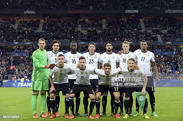 Germany's football national team poses prior to a friendly international football match between France and Germany ahead of the Euro 2016 on November...