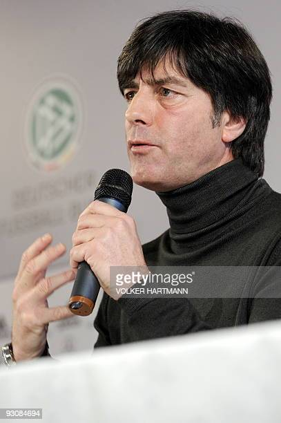 Germany's football team head coach Joachim Loew addresses a press conference on November 16 2009 in Duesseldorf western Germany ahead of a friendly...