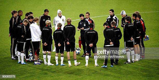 Germany's football team head coach Joachim Loew gives instructions to the team during a training session on November 16 2009 in Duesseldorf western...