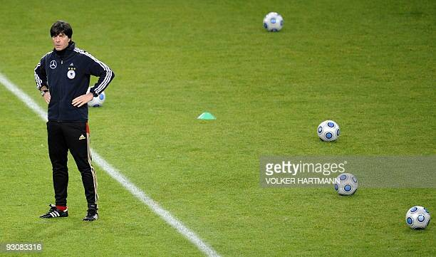 Germany's football team head coach Joachim Loew overlooks a training session on November 16 2009 in Duesseldorf western Germany ahead of a friendly...
