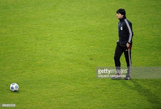 Germany's football team head coach Joachim Loew takes part in a training session on November 16 2009 in Duesseldorf western Germany ahead of a...
