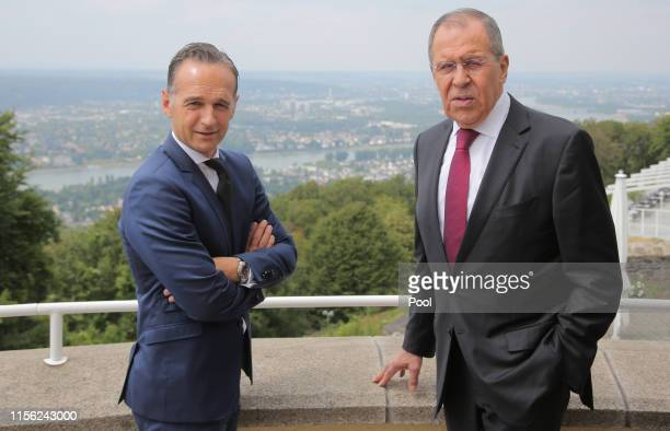Germany's Foreign Minister Heiko Maas and Russia's Foreign Minister Sergei Lavrov during a meeting of the 18th Petersburg Dialogue Russian-German...