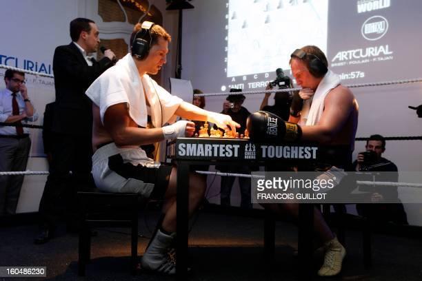 Germany's former world champion Frank Stoldt competes against Belarus' lightheavyweight world champion Leonid Chernobaev during France's first...