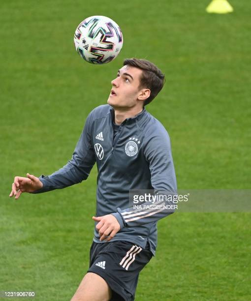 Germany's forward Florian Neuhaus attends a training session on the eve of the FIFA World Cup Qatar 2022 qualification football match Germany v...