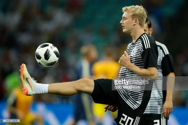 Germany's forward Julian Brandt controls the ball prior to the Russia 2018 World Cup Group F football match between Germany and Sweden at the Fisht...