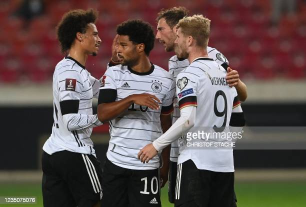 Germany's forward Leroy Sane, Germany's midfielder Serge Gnabry, Germany's midfielder Leon Goretzka and Germany's forward Timo Werner celebrate...