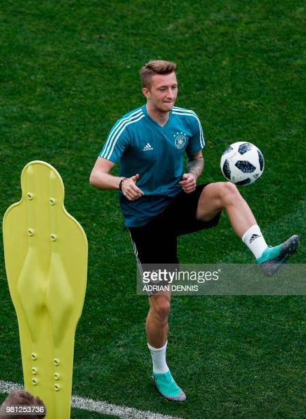 Germany's forward Marco Reus attends a training session at the Fisht Olympic Stadium in Sochi on June 22 on the eve of the Russia 2018 World Cup...