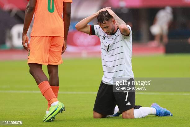 Germany's forward Marco Richter reacts during the Tokyo 2020 Olympic Games men's group D first round football match between Germany and Ivory Coast...