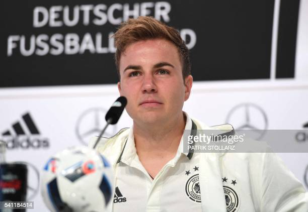 Germany's forward Mario Goetze is pictured as he addresses a press conference at their training grounds in EvianlesBains eastern France on June 19...