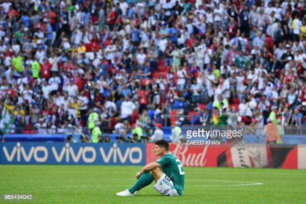 Germany's forward Mario Gomez reacts at the end of the Russia 2018 World Cup Group F football match between South Korea and Germany at the Kazan...