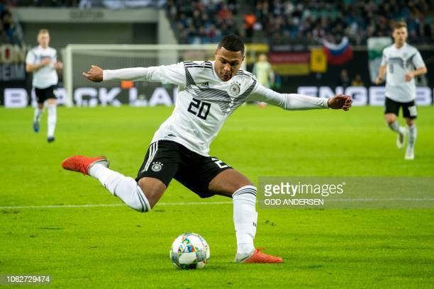 Germany's forward Serge Gnabry shoots during the international friendly football match Germany v Russia in Leipzig eastern Germany on November 15 2018