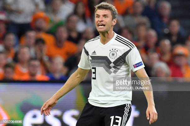 Germany's forward Thomas Mueller gestures during the UEFA Nations League football match between Netherlands and Germany on October 13 2018 at Johan...