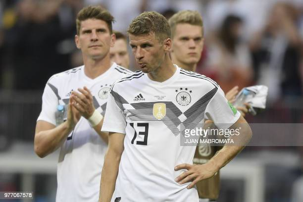 Germany's forward Thomas Mueller reacts after losing the Russia 2018 World Cup Group F football match between Germany and Mexico at the Luzhniki...