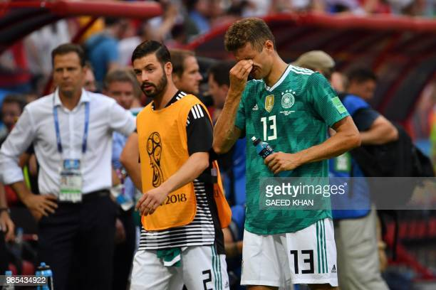TOPSHOT Germany's forward Thomas Mueller reacts at the end of the Russia 2018 World Cup Group F football match between South Korea and Germany at the...