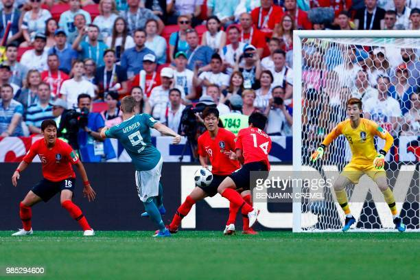 Germany's forward Timo Werner attempts a shot during the Russia 2018 World Cup Group F football match between South Korea and Germany at the Kazan...