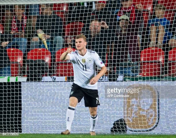 Germany's forward Timo Werner celebrates after scoring the 01 during the FIFA World Cup 2018 qualification football match between Czech Republic and...