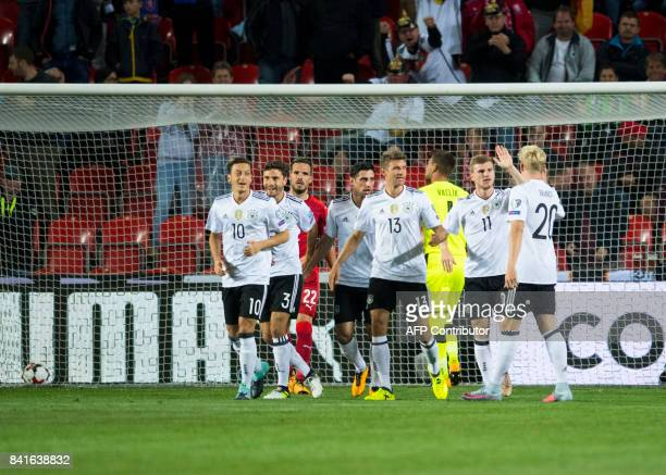 Germany's forward Timo Werner celebrates scoring during the FIFA World Cup 2018 qualification football match between Czech Republic and Germany in...
