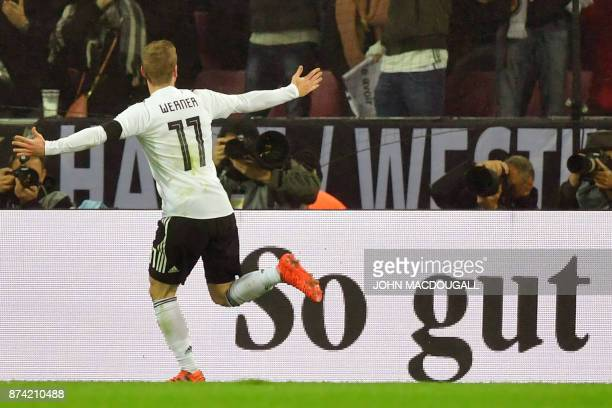 Germany's forward Timo Werner celebrates scoring the 11 during the international friendly football match Germany against France in Cologne on...