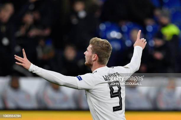 Germany's forward Timo Werner celebrates scoring the opening goal during the UEFA Nations League football match Germany v the Netherlands in...