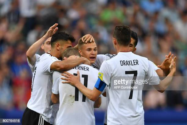 TOPSHOT Germany's forward Timo Werner celebrates with teammates after scoring a goal during the 2017 FIFA Confederations Cup group B football match...