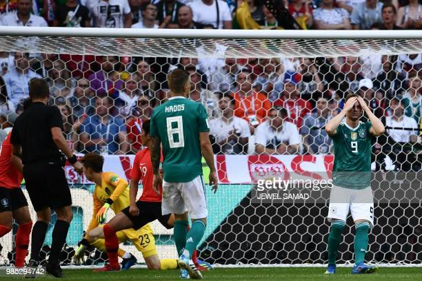 Germany's forward Timo Werner reacts after failing to score during the Russia 2018 World Cup Group F football match between South Korea and Germany...