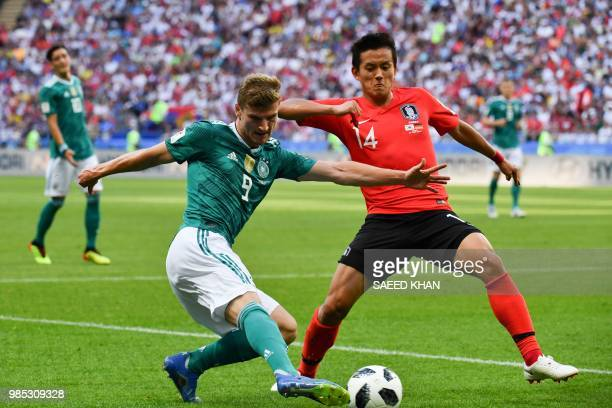 Germany's forward Timo Werner vies for the ball with South Korea's defender Hong Chul during the Russia 2018 World Cup Group F football match between...