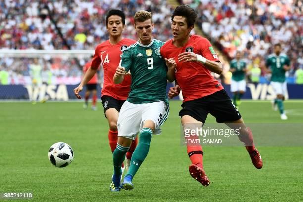 TOPSHOT Germany's forward Timo Werner vies for the ball with South Korea's defender Yun Youngsun during the Russia 2018 World Cup Group F football...