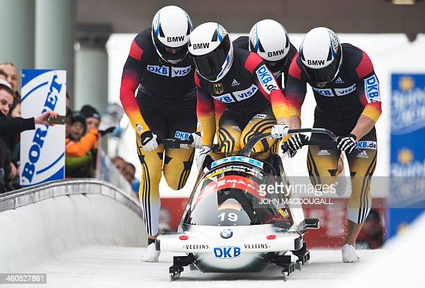 Germany's Francesco Friedrich , Jannis Baecker, Gregor Bermbach, and Thorsten Margis take the start in the Four-Man Bob event of the Bob and Skeleton...