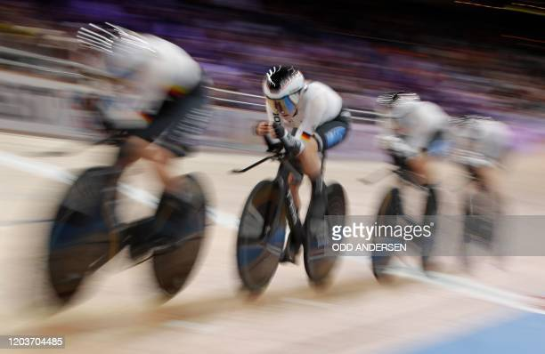 Germany's Franziska Brausse, Germany's Lisa Brennauer, Germany's Lisa Klein and Germany's Gudrun Stock compete to win Bronze in the Women's Team...