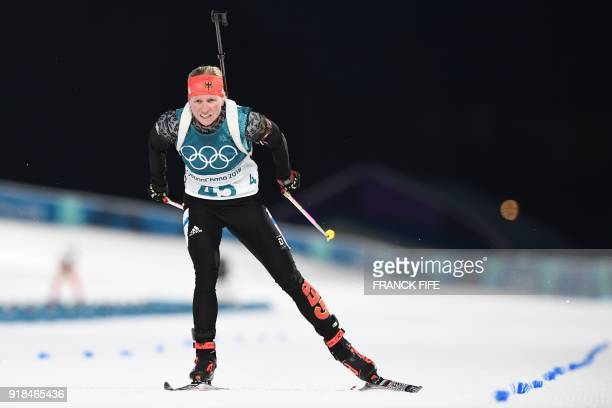 Germany's Franziska Hildebrand competes in the women's 15km individual biathlon event at the Alpensia biathlon center during the Pyeongchang 2018...