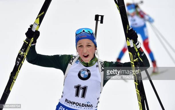 Germany's Franziska Preuss celebrates after winning the women's 12,5 km mass start competion of the IBU Biathlon World Cup in Ruhpolding, southern...