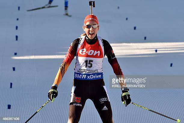 Germany's Franziska Preuss reacts after the Women 125 km Mass Start at the IBU Biathlon World Championship in Kontiolahti Finland on March 15 2015...