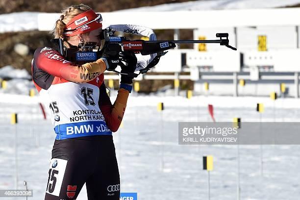 Germany's Franziska Preuss shoots during the Women 125 km Mass Start at the IBU Biathlon World Championship in Kontiolahti Finland on March 15 2015...