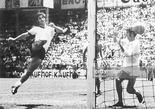 Germany's Gerd Mueller kicks winning goal past England's goal keeper Peter Bonetti in overtime of quarter-final of World Cup Soccer, 6/14. Germany's...