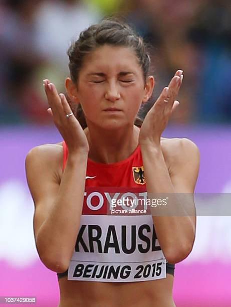 Germany's Gesa Felicitas Krause prepares for the Start in the Women's 3000M Steeplechase Qualification at the 15th International Association of...